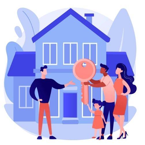 agente immobiliare consegna le chiavi di casa ai nuovi proprietari